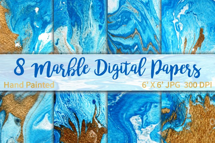 Marble Background Blue and Gold example image 1