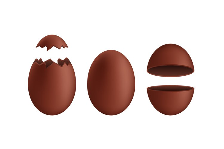 Realistic chocolate eggs. Broken, exploded eggshell. example image 1