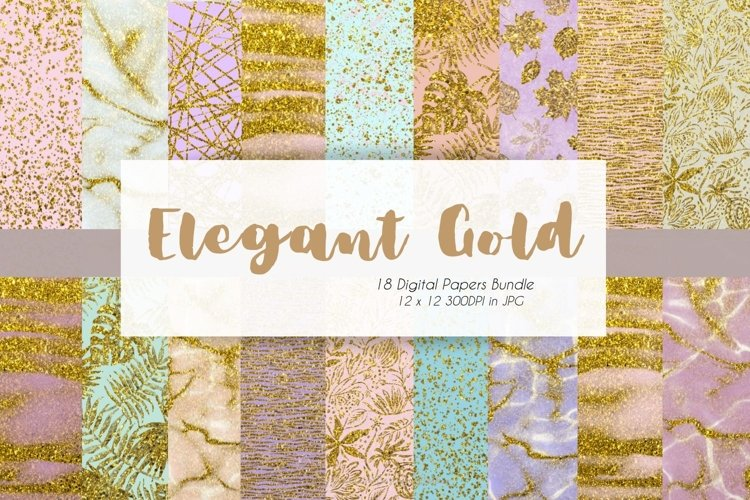 Gold x Colorful Marble Digital Paper Bundle example image 1