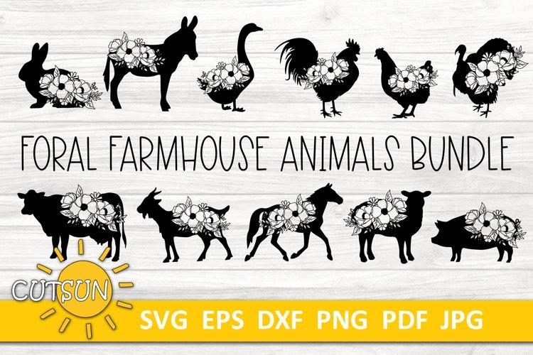 Floral Farmhouse Animals SVG bundle