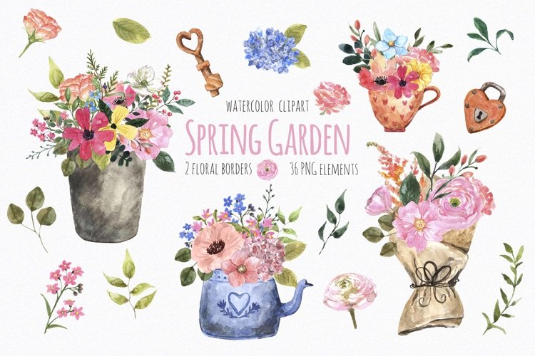 Watercolor Spring Floral Garden Clipart Easter example image 1