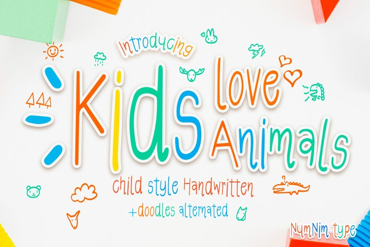 Kids Love Animals - Child font with doodle glyphs example image 1