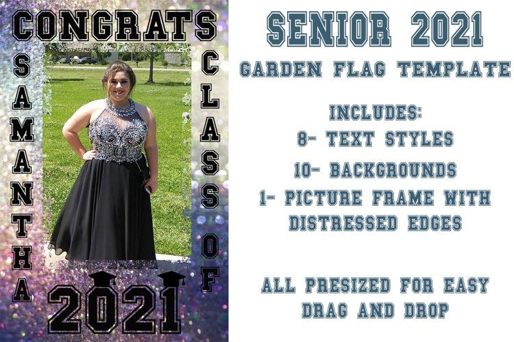 Senior 2021 Garden Flag or Poster Template Clipart Set example image 1