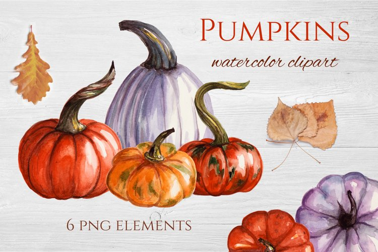 Watercolor pumpkins clipart example image 1