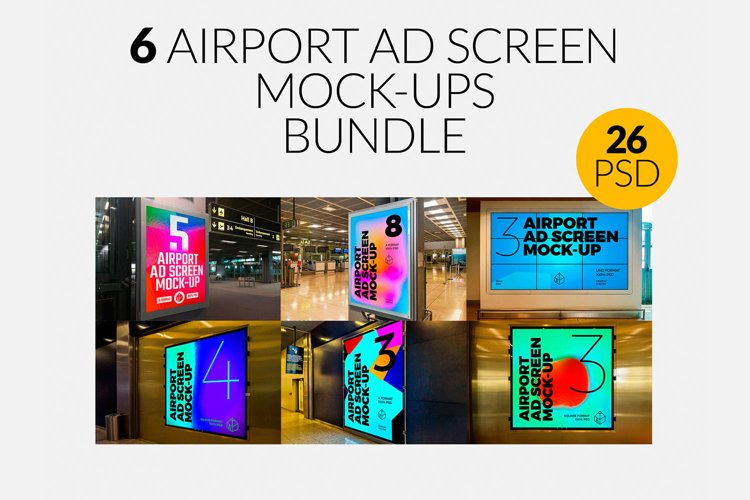 6 Airport Ad Screen Mock-Ups Bundle example image 1