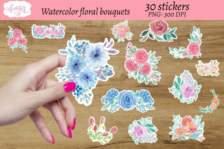 Watercolor floral bouquets stickers, print then cut sticker example image 1