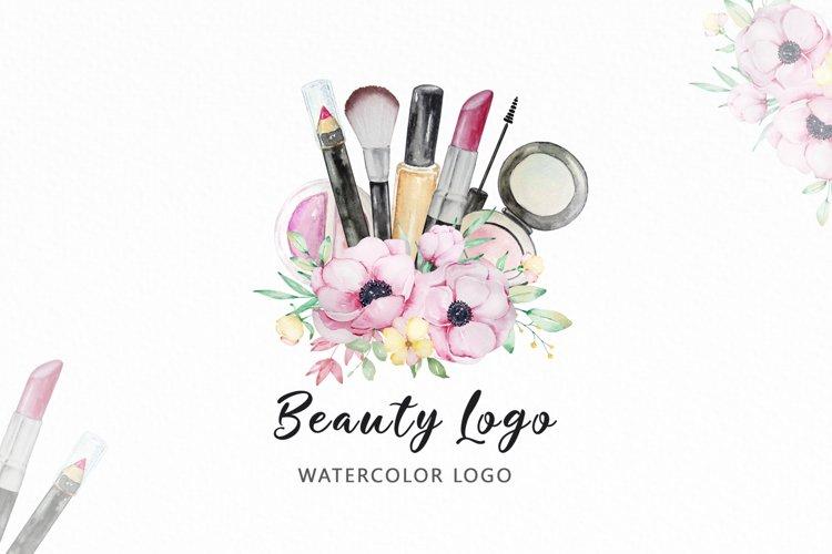Premade Beauty Logo Watercolor Makeup