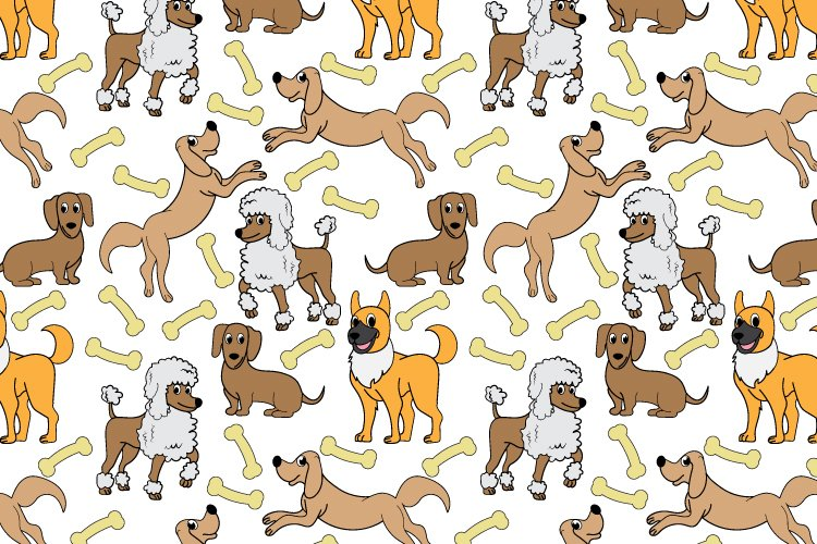cute dog cartoon seamless pattern example image 1