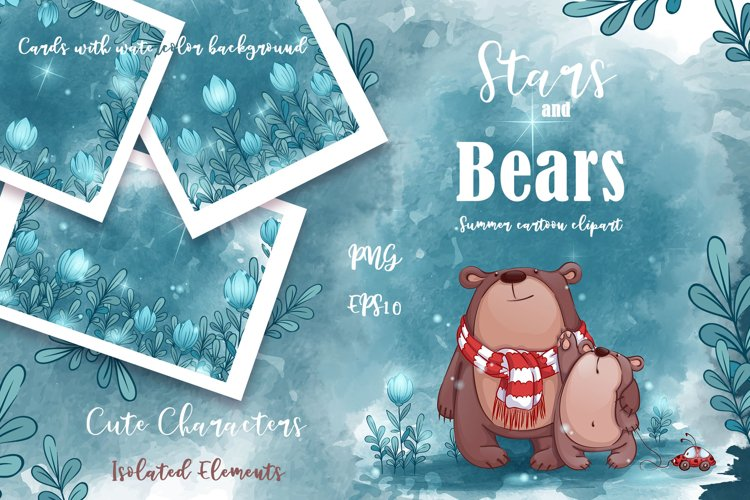 Stars and Bears. Summer sublimation clipart.