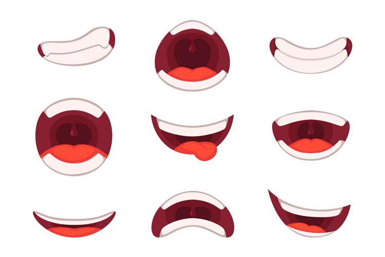 Vector illustrations of funny cartoon mouth with different e example image 1