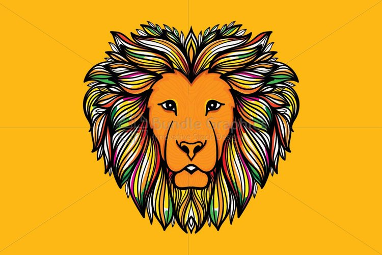 Artistic Mirror Graphics of Wild Animal Lion example image 1