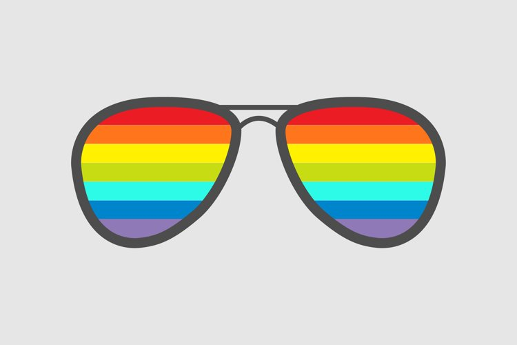 Glasses with rainbow lenses. Vector illustration example image 1
