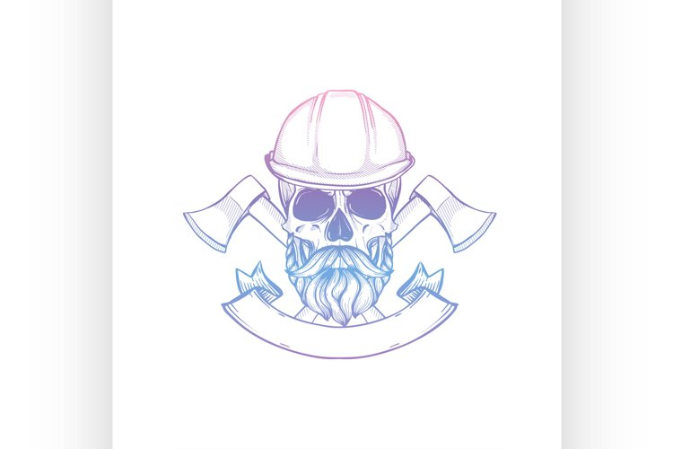 Hand drawn sketch skull with helmet example image 1