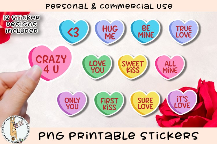 Conversation Hearts Stickers Printable PNG example image 1