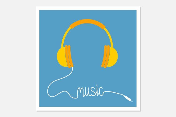 Yellow headphones Music cord example image 1