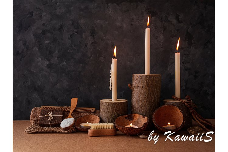 Spa wellness zero waste eco concept wooden candle holder set example image 1
