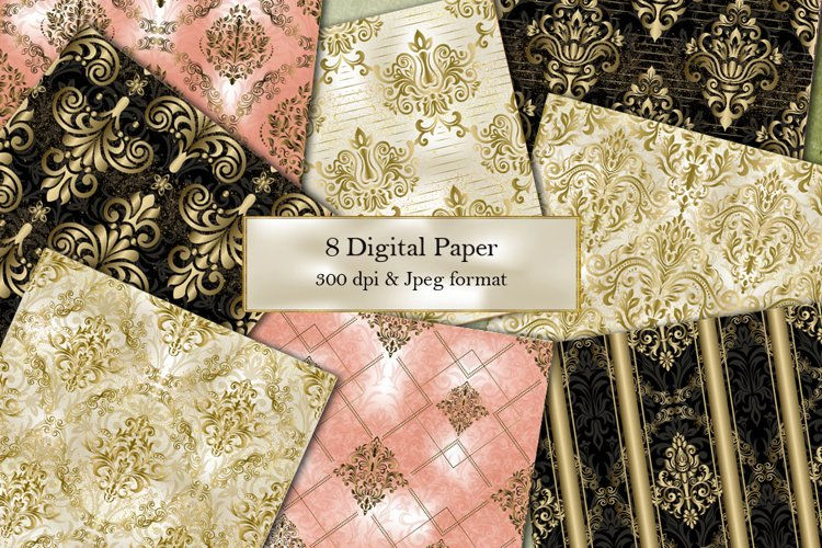 Victorian damask seamless pattern. Collection of papers
