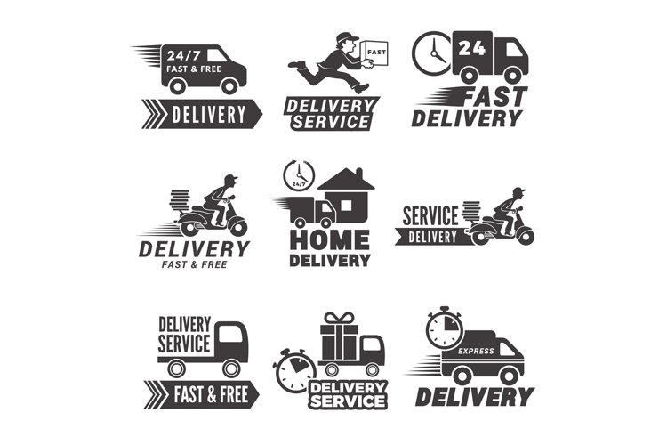 Monochrome labels and icons for delivery service example image 1