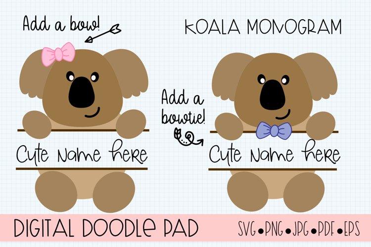 Koala Split Monogram SVG Cut Files for Cricut and Silhouette example image 1