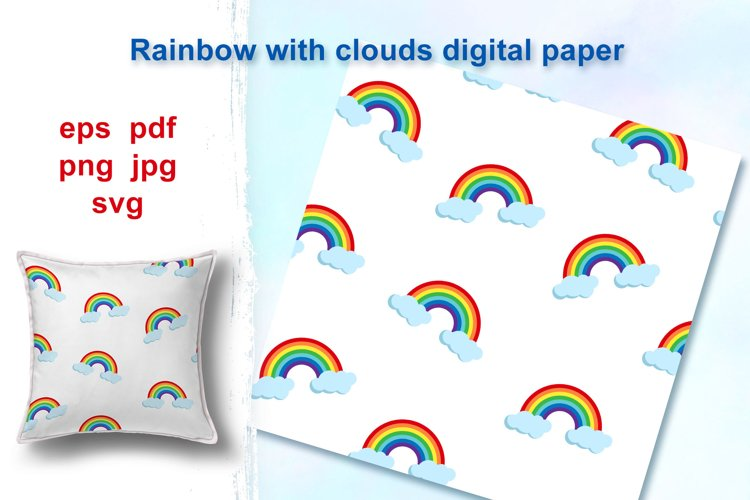 Rainbow and clouds seamless pattern, digital paper. example image 1