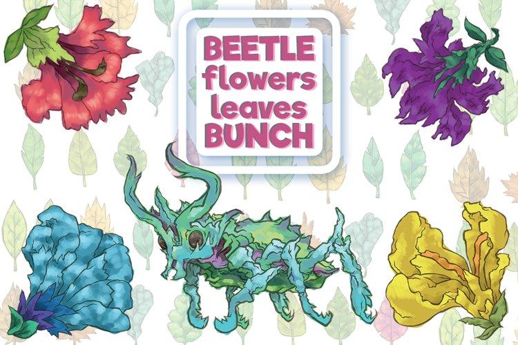 Beetle flowers leaves bunch