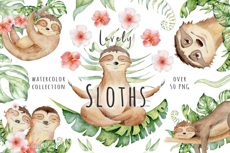 Lovely Sloths Watercolor set example image 1