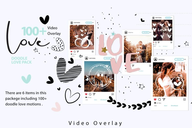 108 Animated Doodle Love Pack Video Overlays