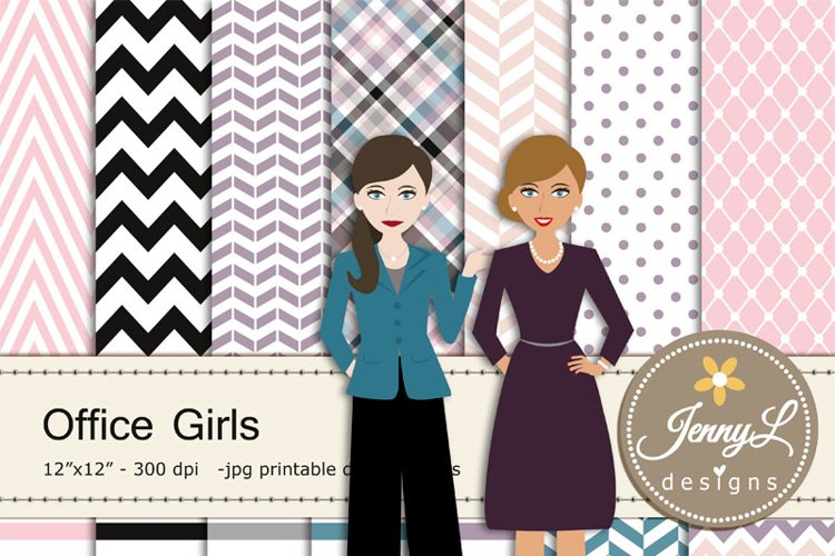 Office Girls Clipart and Digital Papers, Lady Boss, Secretary, Business Woman for Digital Scrapbooking example image 1