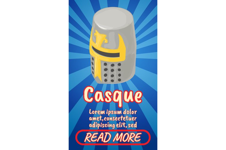 Casque concept banner, comics isometric style example image 1