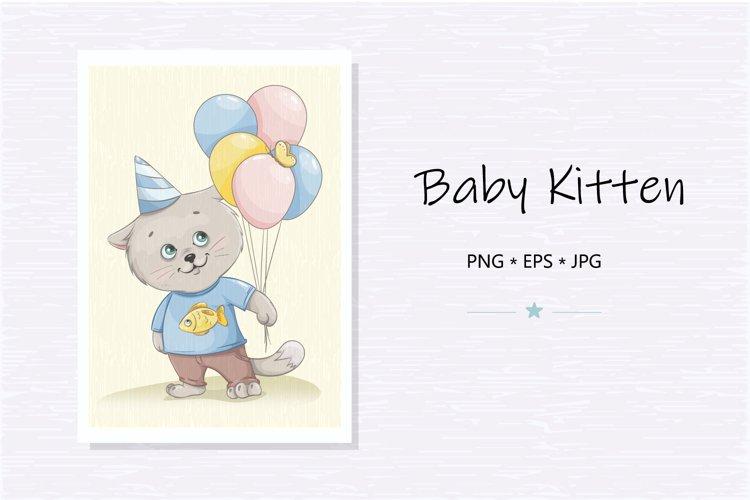 Funny kitten cartoon character. Cute little kitten clipart