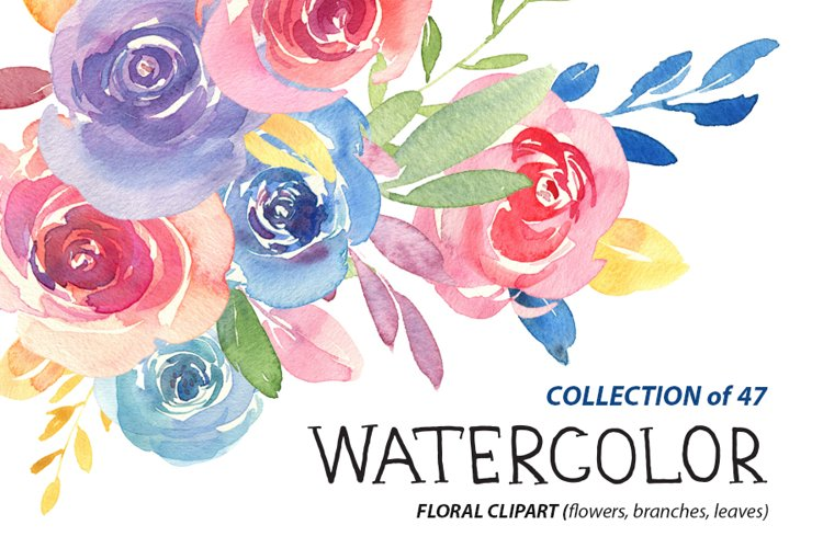 Watercolour roses and leaves 47 PNG example image 1