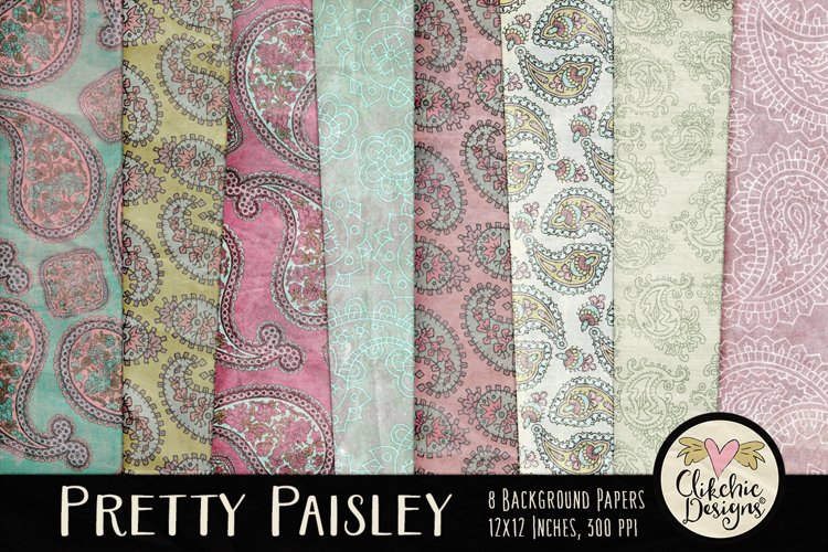 Paisley Background Textures - Shabby Pretty Paisley Papers example image 1