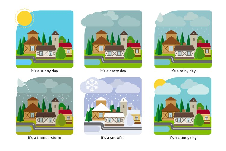 Different weather in the town illustrations example image 1