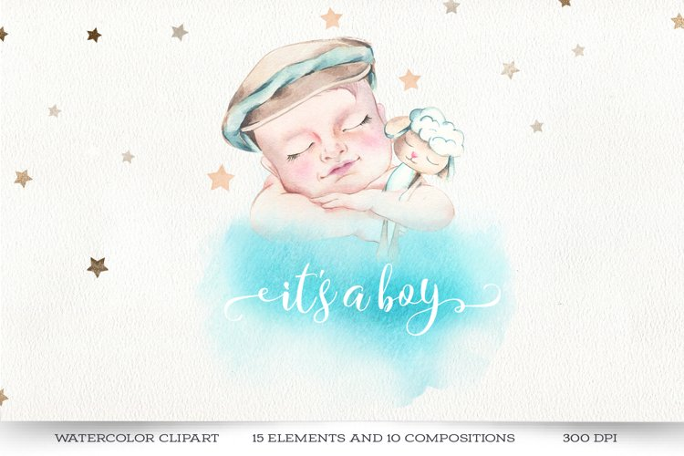 Its a Boy! Baby shower clipart, newborn watercolor set.