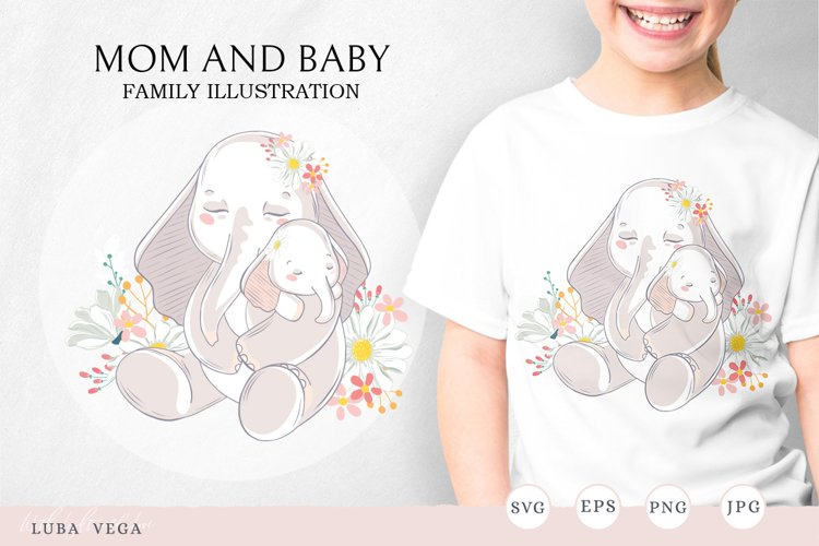 Family illustration / Mom and baby example image 1