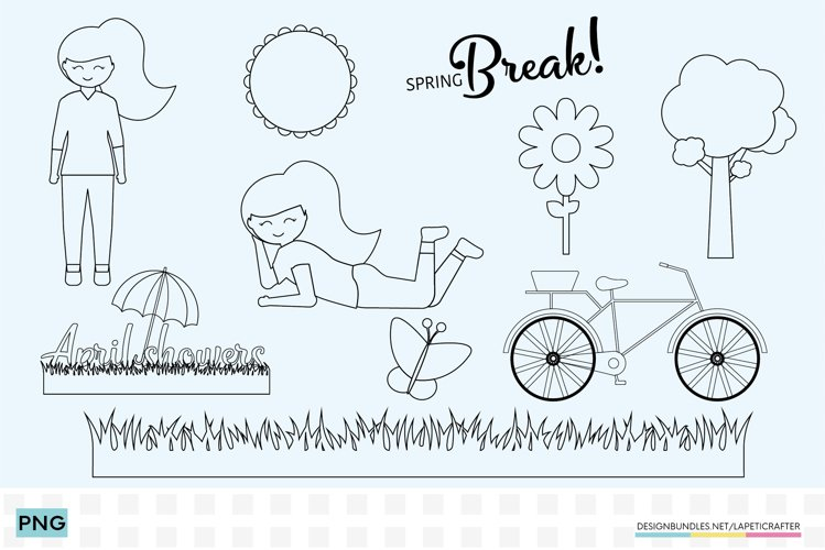 Girl Clipart coloring pages in PNG and PDF format example image 1