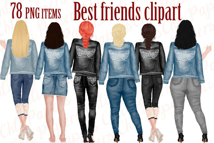 Best Friends Clipart,Jeans and legs,Plus size girls,Planner example image 1