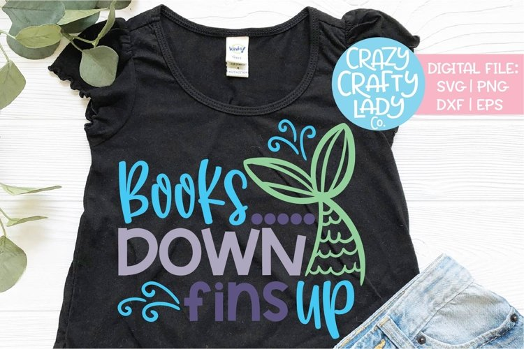Books Down Fins Up Last Day School SVG DXF EPS PNG Cut File example image 1