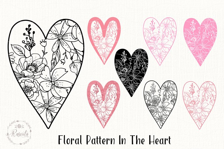 Valentines Love Heart with a Floral Pattern example image 1