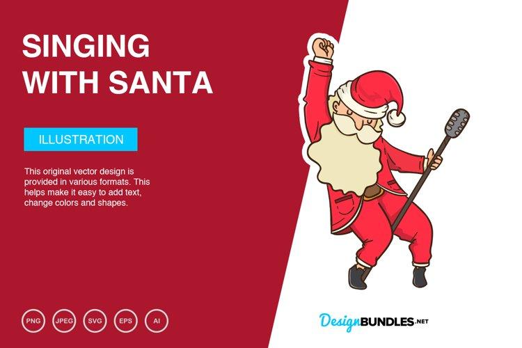 Singing With Santa Vector Illustration