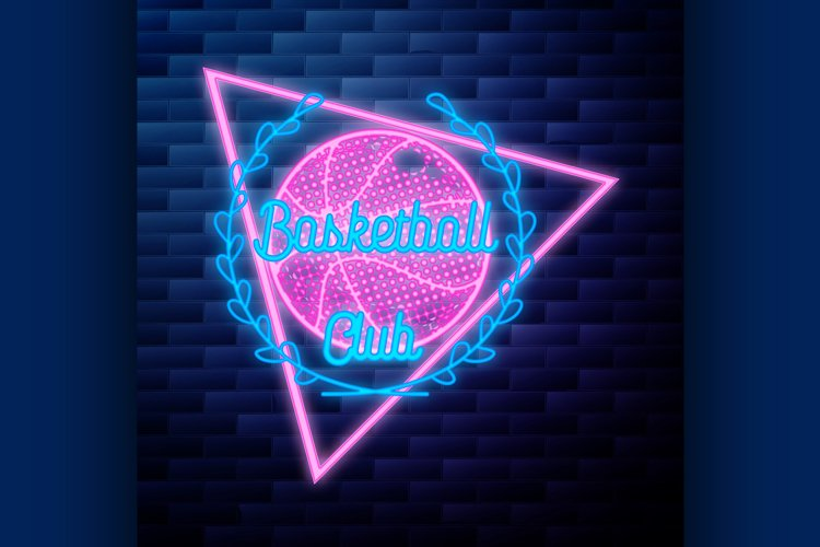 Vintage basketball emblem glowing neon sign on example image 1