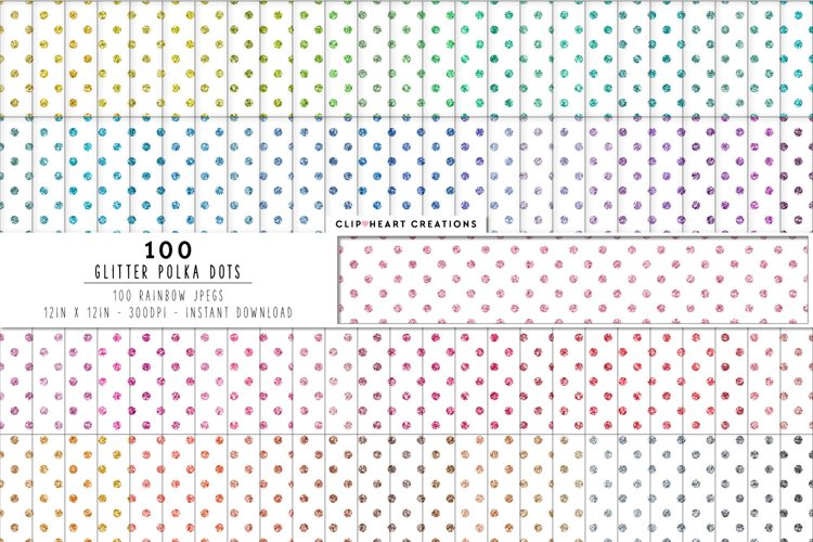 100 Glitter Polka Dot Digital Papers in Rainbow Colors example image 1
