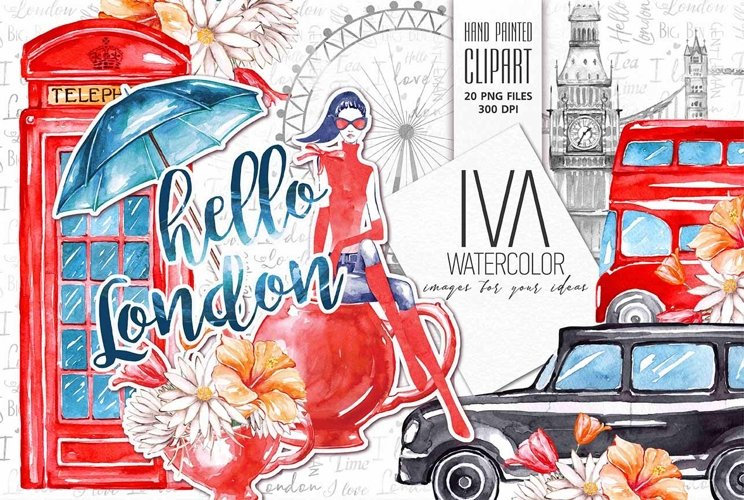London Clipart, Travel watercolor Clipart example image 1