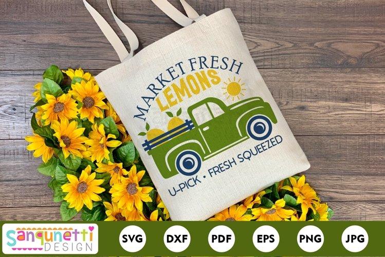 Market fresh lemons svg with farmhouse truck