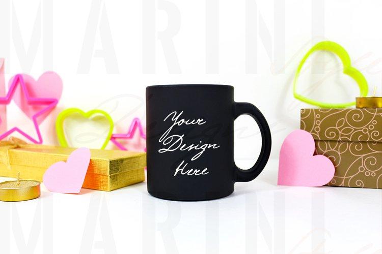 Valentines day black mug Mockup, 11oz Black cup mockup, 1170