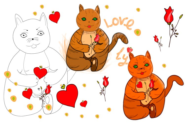 Festive cat with love heart and rose in its paws/clipart example image 1