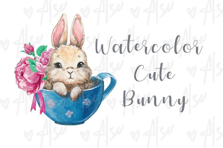 Watercolor illustration cute bunny sitting in a cup