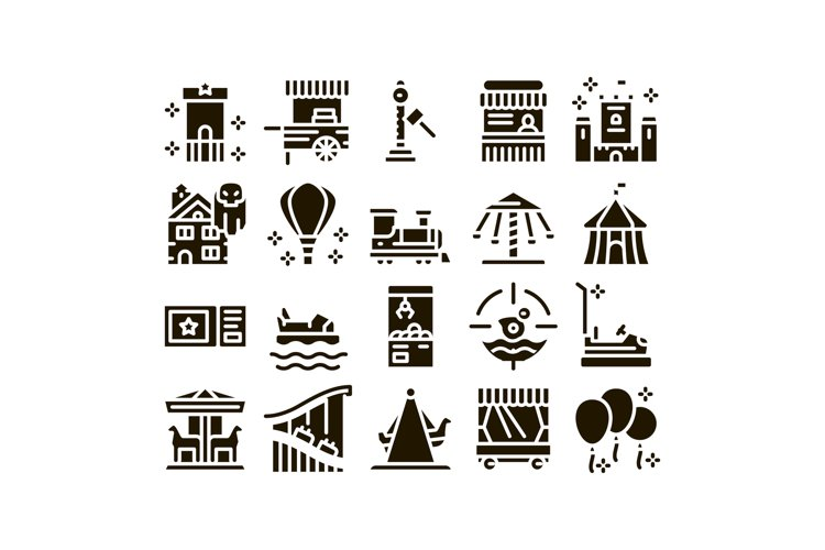 Amusement Park And Attraction Icons Set Vector example image 1