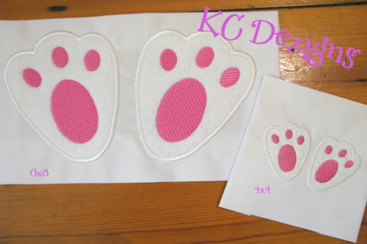 Easter Bunny Feet Machine Applique Embroidery Design