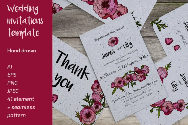 Wedding collection with hand drawn poppy flowers example image 1